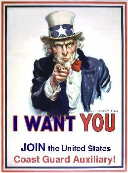 Uncle Sam Wants YOU!  Join the United States Coast Guard Auxiliary!